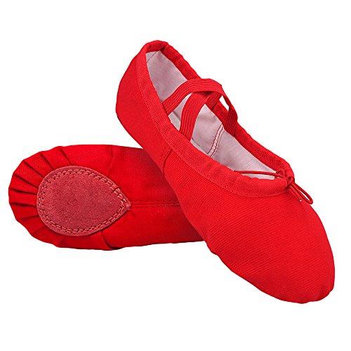 STELLE Girls/Women's Canvas Ballet Slipper Dance Shoes Ultra Soft Ballet Flats Yoga Shoes(Red, 10M ()
