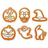 Kit 6 stampini tagliapasta Halloween - zucca strega fantasma teschio gatto per i tuoi dolcetti di Halloween