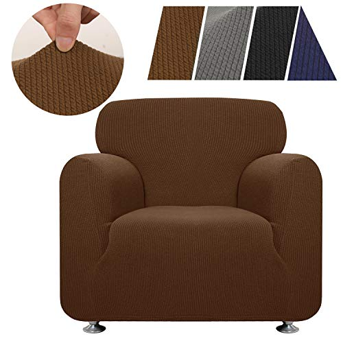 HAOCOO Sofa Cover, Striped Stretch Chair Couch Covers Polyester Spandex Fabric Soft Slipcover Furniture Protector for 1 Seater Cushion Chair Couch Sofa Dogs (Coffee Chair Cover) (Slipcovers Flexsteel Sofa)