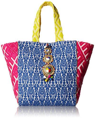 Steve Madden Zena Tribal Geometric Colored Bohemian Fabric Tote Shoulder Beach Handbag, Multi by Steve Madden