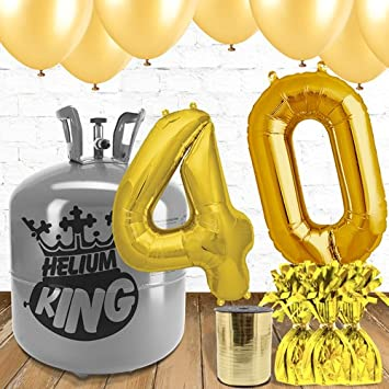 40th Birthday Gold Balloons And Helium Gas Package