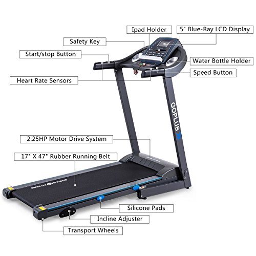 Gymax Electric Treadmill for Running Folding Machine Motorized Home Gym Running Walking Jogging Machine Heavy Duty Fitness Exercise Treadmill, Black