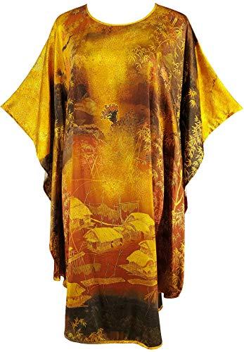(Ledamon Women's 100% Silk Short Robe Nightgowns Batwing Sleeved Nightwear Sleepwear Pajama -Classic Handpainted (Golden))