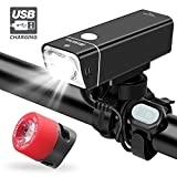 iKirkLiten Urban 600 Lumens Bike Lights Front and Back, USB Rechargeable Bike Headlight Free Tail Light Bike Light Set, Aluminum Alloy Waterproof Bike Headlight W Wired Remote Button, 5 Lighting Modes