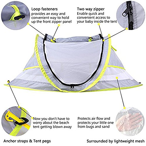 Baby Travel Tent,Portable Ultralight Folding Baby Beach Tent Pop Up UPF 50+ UV Travel Bed Cribs Protection Sun Shelter Shade for Baby Under Age 2 (Grey/Green) by Anyshock (Image #2)