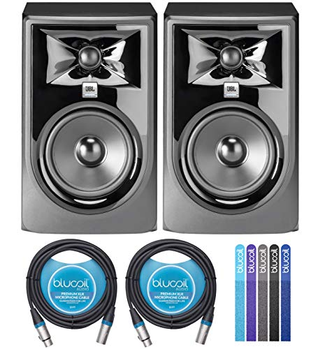 """JBL Professional 305P MkII Next-Generation 5"""" 2-Way Powered Studio Monitors (2-Pack) Bundle with Blucoil 10-FT Balanced XLR Cables (2-Pack), and Reusable Cable Ties (5-Pack)"""