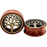 TOPBRIGHT Pair Wood & Brass Tree of Life Flesh Saddle Tunnels Expander Ear Gauges Earring Plugs (8mm)