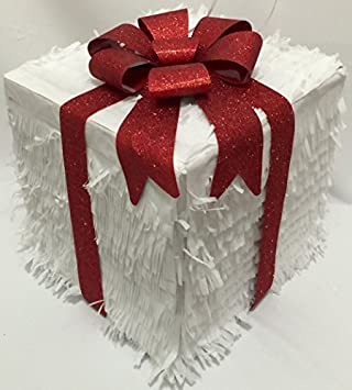 Gift Box Pull Strings Pinata Color White & Red Bow