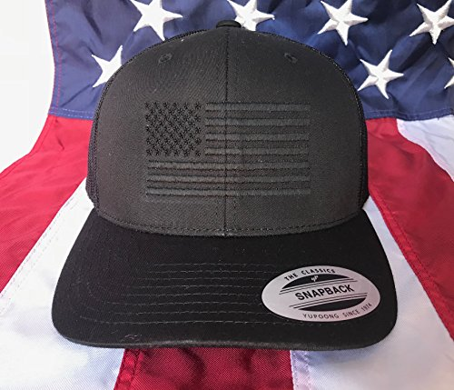 Free Personalization, Blacked Out American Flag Embroidered - Free For Blacked