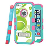 iPhone SE / iPhone 5 Case, CASECREATOR[TM] For Apple iPhone SE / iPhone 5 / iPhone 5S (AT&T, Verizon, Sprint, Cricket) -- TUFF Hybrid Stand Case Teal Green Pink-Tennis Balls