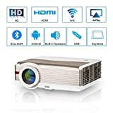 HD Wifi Projector LED Android Home Theater Outdoor Bluetooth for iPhone iPad iOS Mobile Phones Laptop TV Roku,High Resolution 5000 Lumen LCD Smart Wireless Video Projectors HDMI USB Zoom 1080P Support