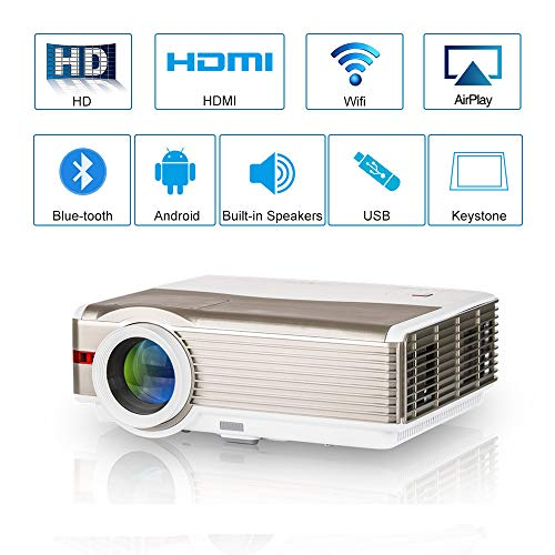 WXGA HD LCD Smart Home Theater Wifi Projectors with Bluetooth, 5000 Lumens Wireless Android LED Movie Projector HDMI USB VGA AV Airplay for iOS Android Phones TV DVD Player PS4 Laptop Outdoor