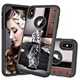 HMTECHUS iPhone Xs MAX Case Printing Dual Layer Cloth PC Back TPU Border Shell Back Non-Slip Anti-Fall Shock Resistant Protection Slim Cover for iPhone Xs MAX Cloth 2 in 1 Cat Tiger YB