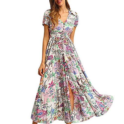 NANTE Dress Women Sundress Floral Print Ball Gown Button Up Split Skirt Flowy Party Long Maxi Robe Short Sleeve Dresses (White, XL)