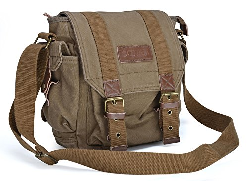 Gootium Canvas Messenger Bag - Small Vintage Shoulder Bag Crossbody Satchel, Army Green