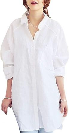 Camisa Larga De Las Señoras Solapa Tops De con Manga Larga Botones Casuales Mujeres Túnicas Blusa De La Manera Suelta De La Manera Tops Otoño: Amazon.es: Ropa y accesorios