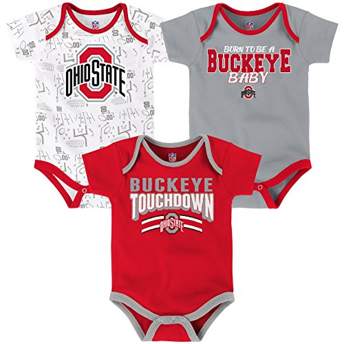 Cotton Onesie Ohio (NCAA Ohio State Buckeyes Newborn & Infant Playmaker 3pc Bodysuit Set, Multi, 24 Months)