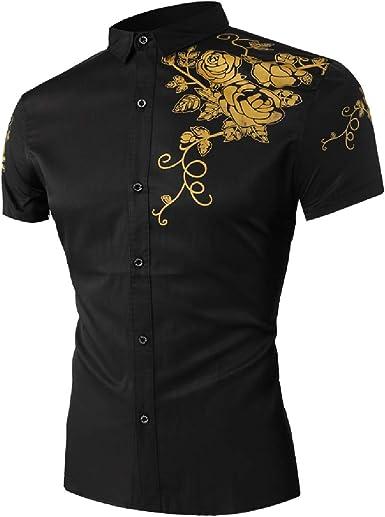 KLJR Men Slim Fit Button Up Casual Short Sleeve Shirts