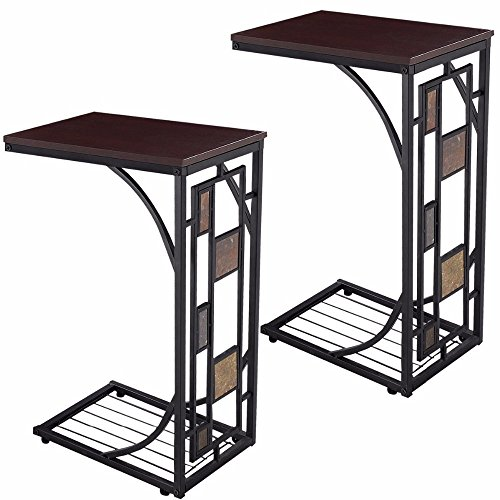 2 PCS Coffee Tray Side Sofa Table Ottoman Couch Console Stand End TV Lap Snack (Lift Tray Coffee Table compare prices)