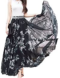 Women Full/Ankle Length Blending Maxi Chiffon Long Skirt...