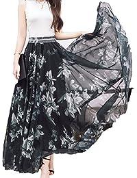 Women Full/ankle Length Blending Maxi Chiffon Long Skirt...