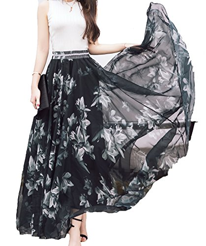 Afibi Women Full/Ankle Length Blending Maxi Chiffon Long Skirt Beach Skirt (Large, Design A)