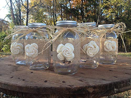 Set of 5 Rustic Mason Jars with Sola Flower - Rustic Wedding Decor - Wedding Mason Jars - Mason Jar Centerpieces - Ball Mason Jars