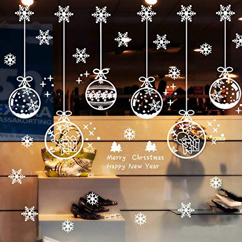 Guolz 220Pcs Christmas Snowflake Window Clings Stickers Baubles and Bells Decal Wall Decorations Xmas/Holiday/Winter Wonderland Party Supplies(6 Sheets)