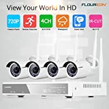 FLOUREON 4CH Wireless 1080N AHD DVR HDMI CCTV Home Security System + 4 X Wifi Outdoor 1500TVL 720P Waterproof Bullet Surveillance Cameras with IR Night Vision