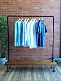 Industrial Pipe Clothing Rack with Cedar Wood Shelf by William Robert's Vintage