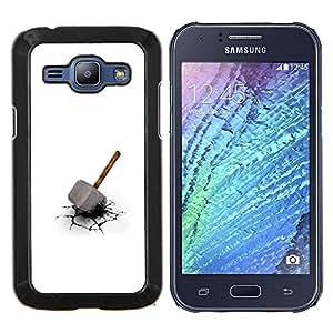 KLONGSHOP // Cubierta de piel con cierre a presión Shell trasero duro de goma Protección Caso - Martillo de Thor - Samsung Galaxy J1 J100 //