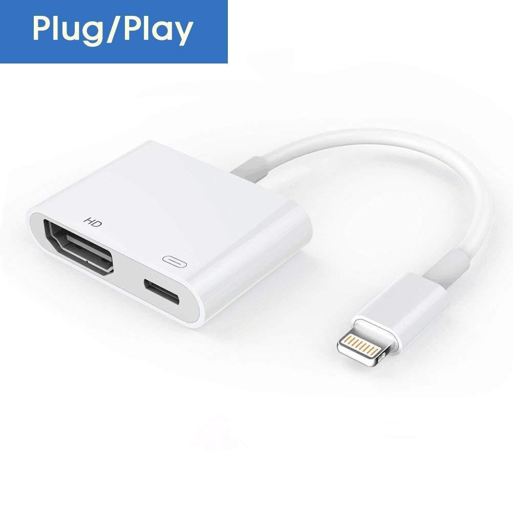 Adaptateur HDMI pour téléphone, Adaptateur 1080P AV numérique Écran HDTV Sync Connecteur HDMI pour série iPhone XS/XR/X / 8/7/6/5 / Pad Air/Mini/Pro