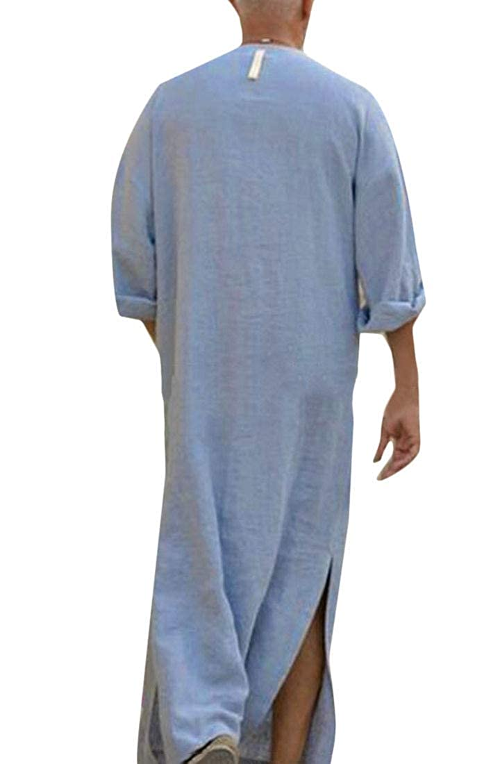 Fubotevic Mens Solid Color Split Cotton Linen Long Sleeve Middle East Muslim Robe Shirt