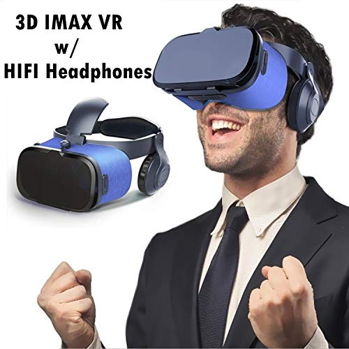 VR Headset/Glasses, Updated Virtual Reality Headset 3D VR Goggles w/HiFi Headphones for 3D Movie Game Video for iPhone…