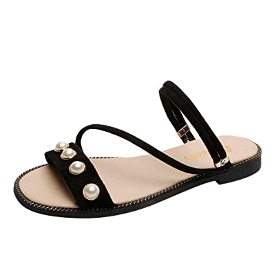 90c2ae2a5a44 Yucode Women s Open Toe Pearl Flat Beach Walk Fashion Shoes Sandals Slippers  Black