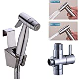 Hand Held Bidet Spray Kit,Premium Stainless Steel Toilet Spray,2 Function Diaper Sprayer Shattaf Douche, Brushed Nickel