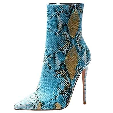 FANIMILA Women Fashion Autumn Boots Stiletto High Heels Shoes Pointed Toe Zipper Short Boots Snake Blue Size 33 Asian