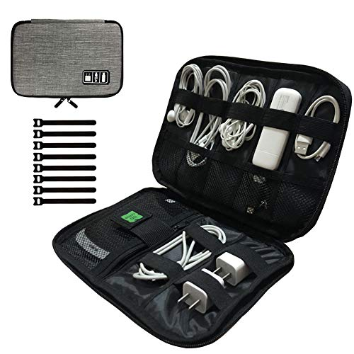 Cable Organizer Bag,Small Cord Organizer Bag Travel Tech Organizer Bag Electronics Accessories Bag with 8pcs Cable Ties…