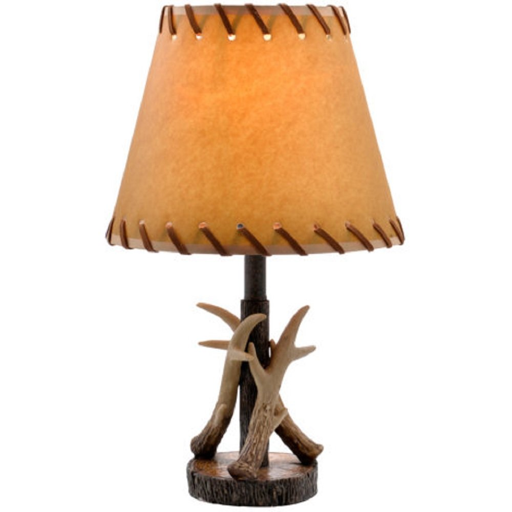 Antler Table Lamp Bronze Finish W Faux Leather Shade 16 5 H