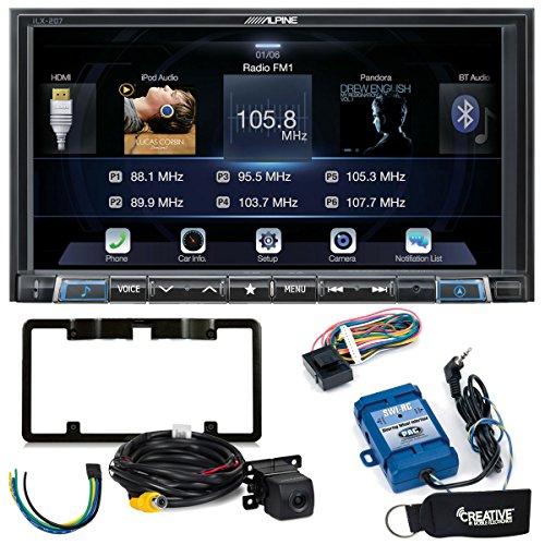 (Alpine iLX-207 Apple CarPlay & Android Auto Receiver W/ Alpine Rear View Camera, Steering Wheel Interface, Trigger Mod)