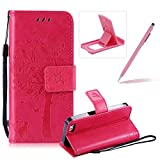 Strap Leather Case for iPhone SE,Bookstyle Magnetic [Hot Pink Solid Color] Stand Flip Case for iPhone 5S,Herzzer Premium Elegant Butterfly Tree Cat Print Fold Wallet Folio Smart Case For iPhone SE/iPhone 5/5S + 1 x Pink Cellphone Kickstand + 1 x Pink Stylus Pen