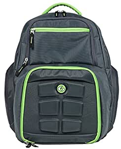6 Pack Fitness Expedition Laptop Backpack with Insulated Meal Management System, Grey/Green, (300-3 Meals)