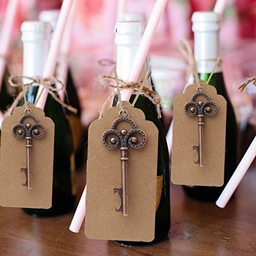 Aparty4u 50pcs Skeleton Key Bottle Opener, Vintage Key Bottle Opener with Thank You Gift Tags, Wedding Favors for Guests Party Favors]()