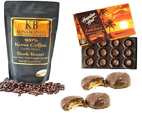 Hawaiian Host & Kona Coffee Chocolate Gift Set - Caramacs Milk Chocolate Caramel Drenched Over Dry Roasted Macadamia Nuts -100% Kona Coffee Kona Bean Co. Dark Roast Coffee - Ground (Dark Roast Ground)