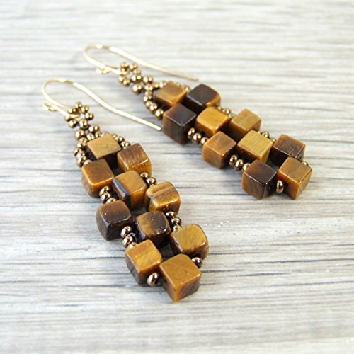Brown Tiger Eye Cube Gemstone Beaded Earrings with Handcrafted 14k Gold Filled Earwires (Cube Renaissance)