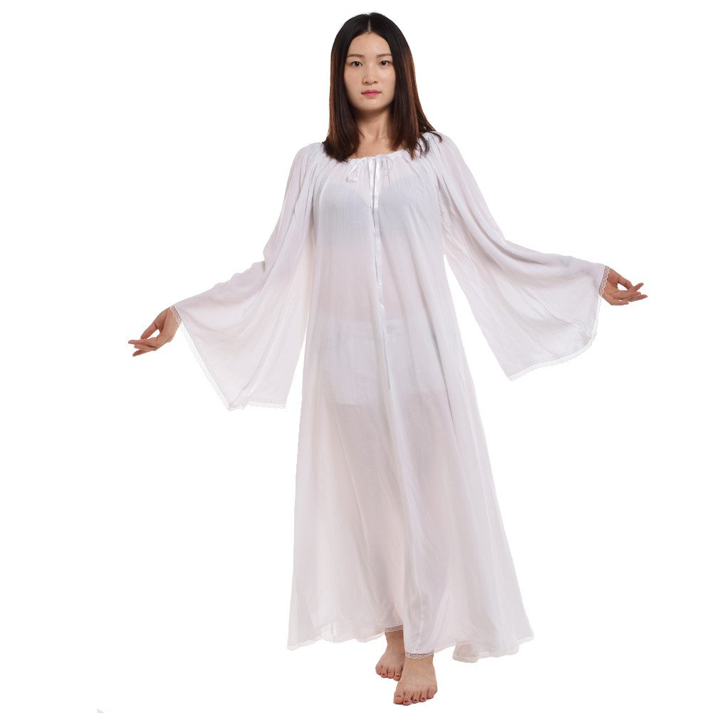 Medieval Renaissance Women's White Bell Sleeve Chemise Dress - DeluxeAdultCostumes.com