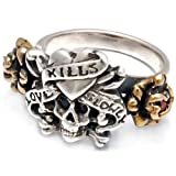 """Ed Hardy """"Love Kills Slowly"""" Bronze Ring with Onyx and Ruby"""
