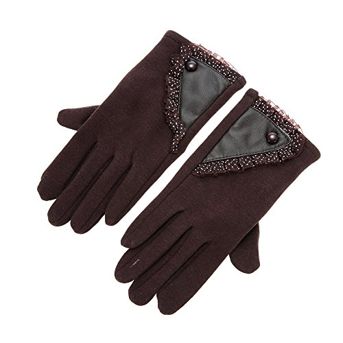 Women's Stylish Lace Touch Screen Skiing Gloves Lined Thick Warm Winter Gloves - - Best Oakleys Heads Big For