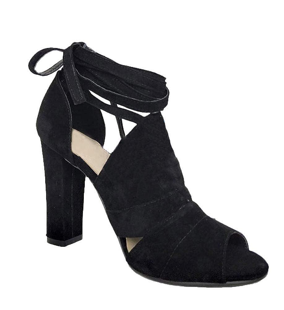 Minetom Donna Moda Sandali Tacco A Blocco Eleganti Partito Scarpe Estate Peep Toe Sandals Shoes Casuale Beach  B Nero