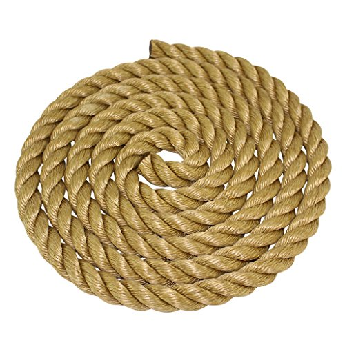 ProManila Rope 1 inch - SGT KNOTS - UnManila Tan Twisted 3 Strand Polypropylene Cord - Moisture, UV, and Chemical Resistant - Marine, DIY Projects, Crafts, Commercial, Indoor / Outdoor (25 feet) (Rope 1 In)